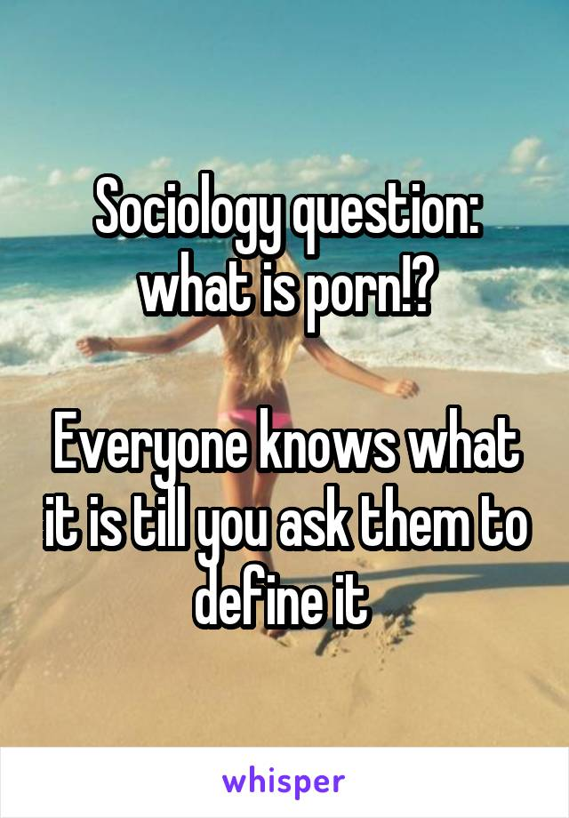 Sociology question: what is porn!?  Everyone knows what it is till you ask them to define it