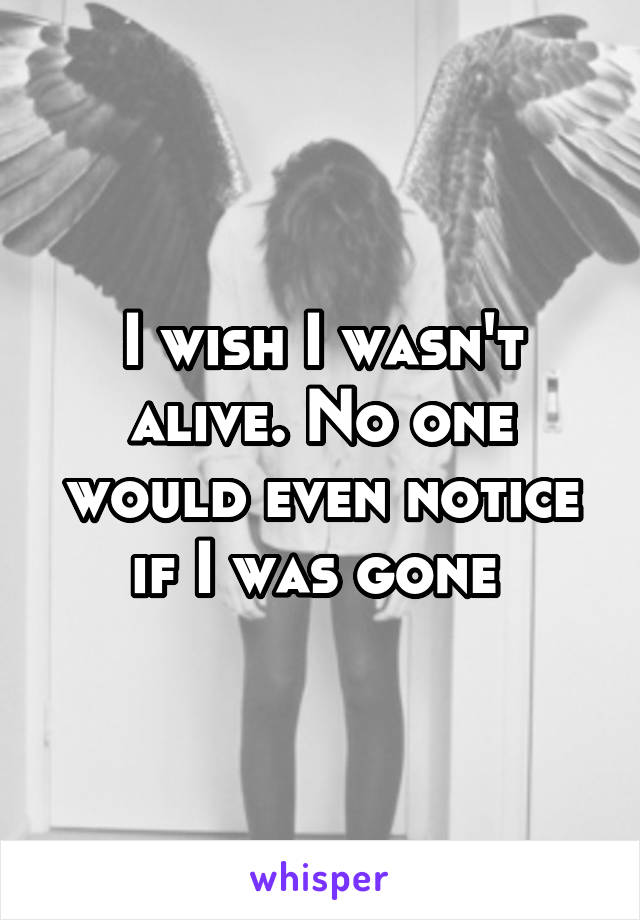 I wish I wasn't alive. No one would even notice if I was gone