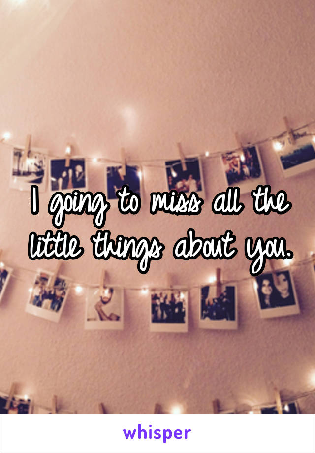 I going to miss all the little things about you.