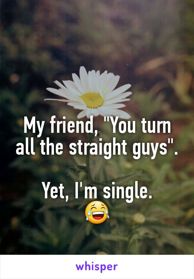 """My friend, """"You turn all the straight guys"""".  Yet, I'm single. 😂"""
