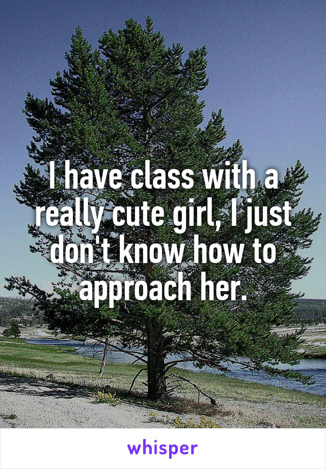 I have class with a really cute girl, I just don't know how to approach her.