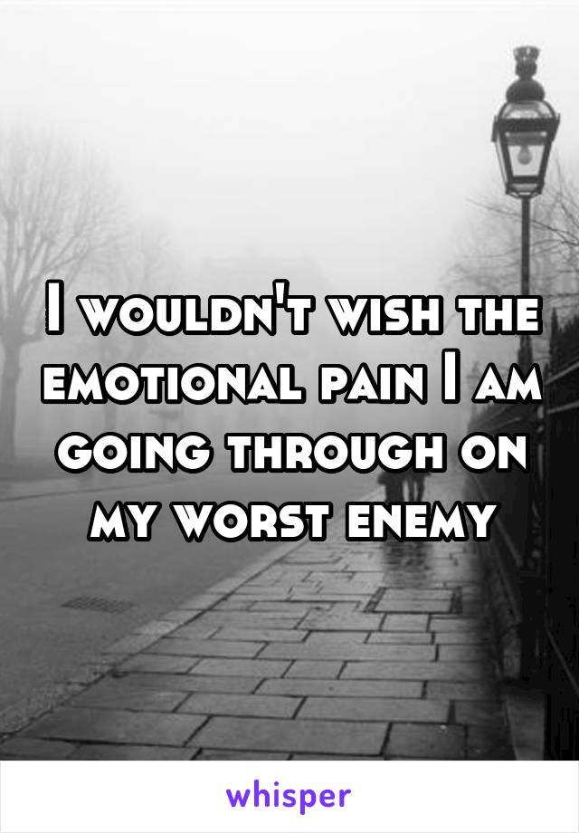 I wouldn't wish the emotional pain I am going through on my worst enemy