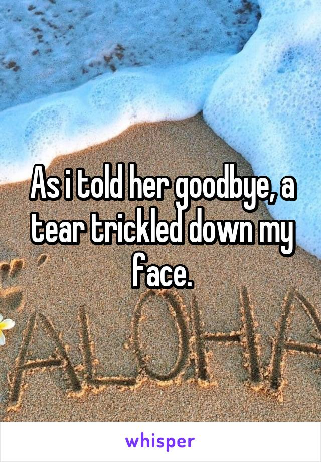 As i told her goodbye, a tear trickled down my face.