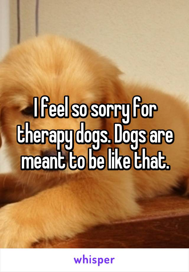I feel so sorry for therapy dogs. Dogs are meant to be like that.