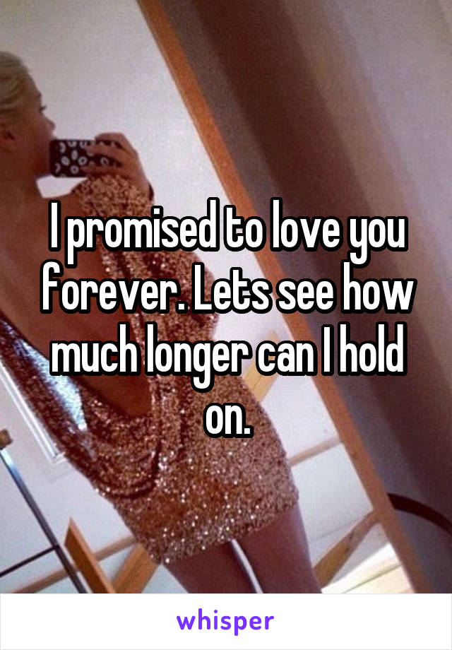 I promised to love you forever. Lets see how much longer can I hold on.