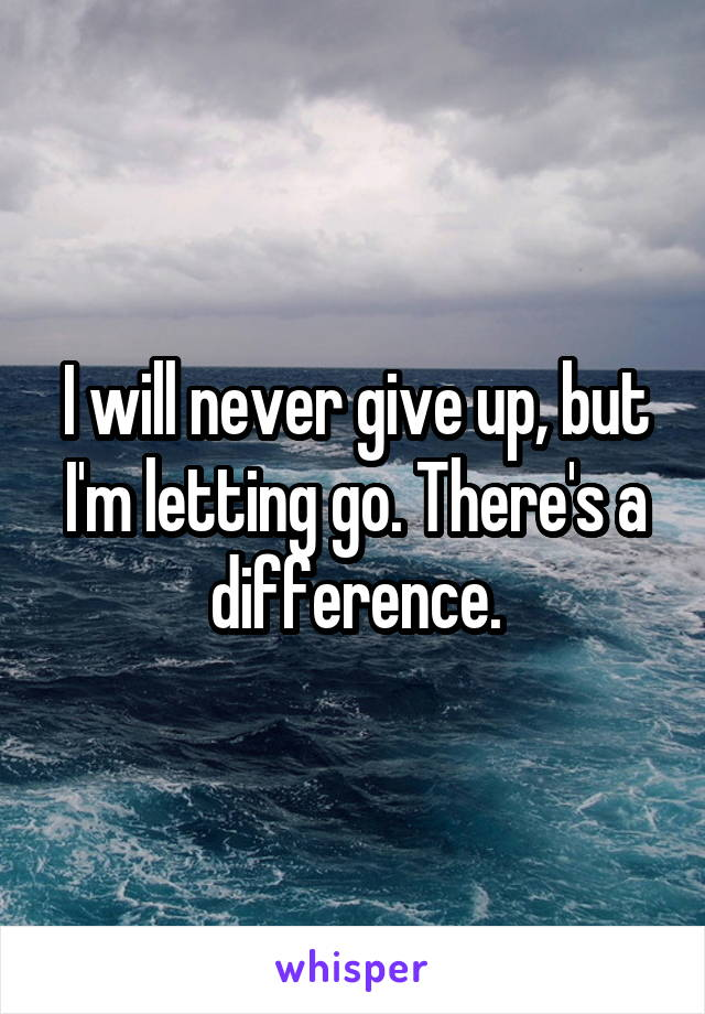 I will never give up, but I'm letting go. There's a difference.