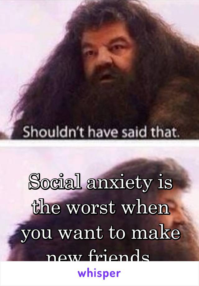 Social anxiety is the worst when you want to make new friends.