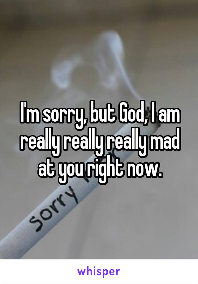 I'm sorry, but God, I am really really really mad at you right now.