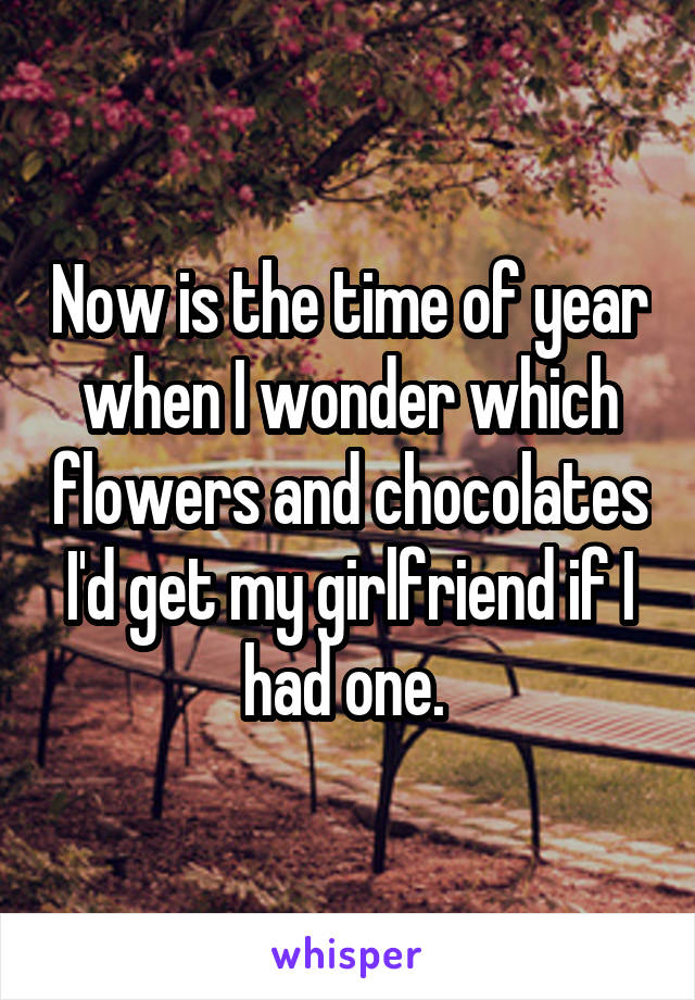 Now is the time of year when I wonder which flowers and chocolates I'd get my girlfriend if I had one.