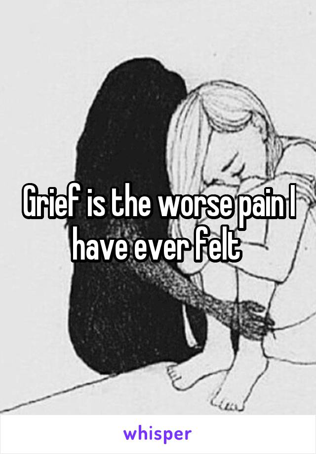 Grief is the worse pain I have ever felt