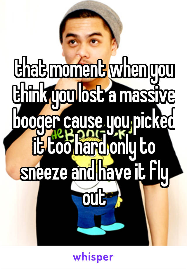 that moment when you think you lost a massive booger cause you picked it too hard only to sneeze and have it fly out
