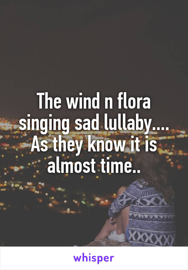 The wind n flora singing sad lullaby.... As they know it is almost time..