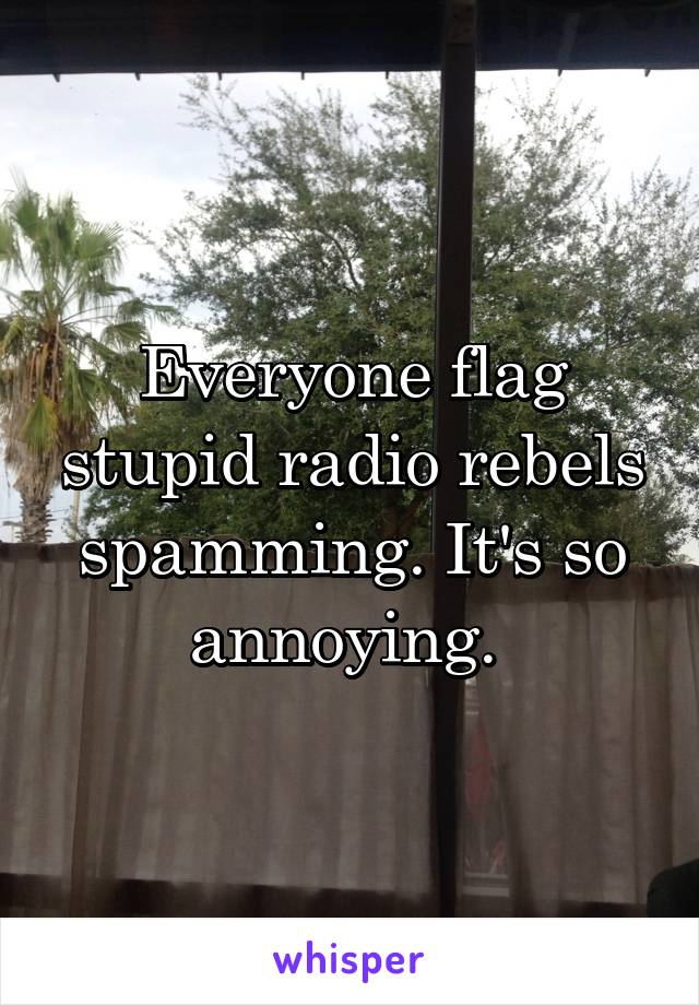 Everyone flag stupid radio rebels spamming. It's so annoying.