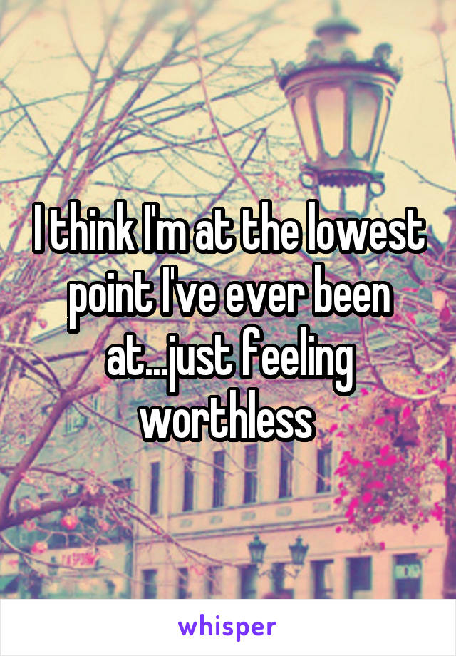 I think I'm at the lowest point I've ever been at...just feeling worthless