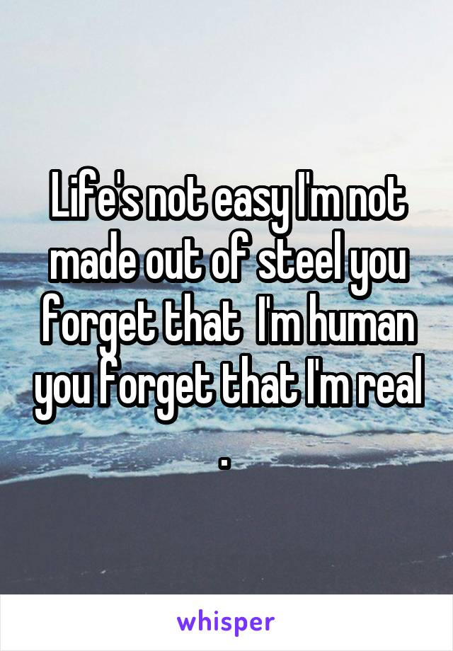 Life's not easy I'm not made out of steel you forget that  I'm human you forget that I'm real .