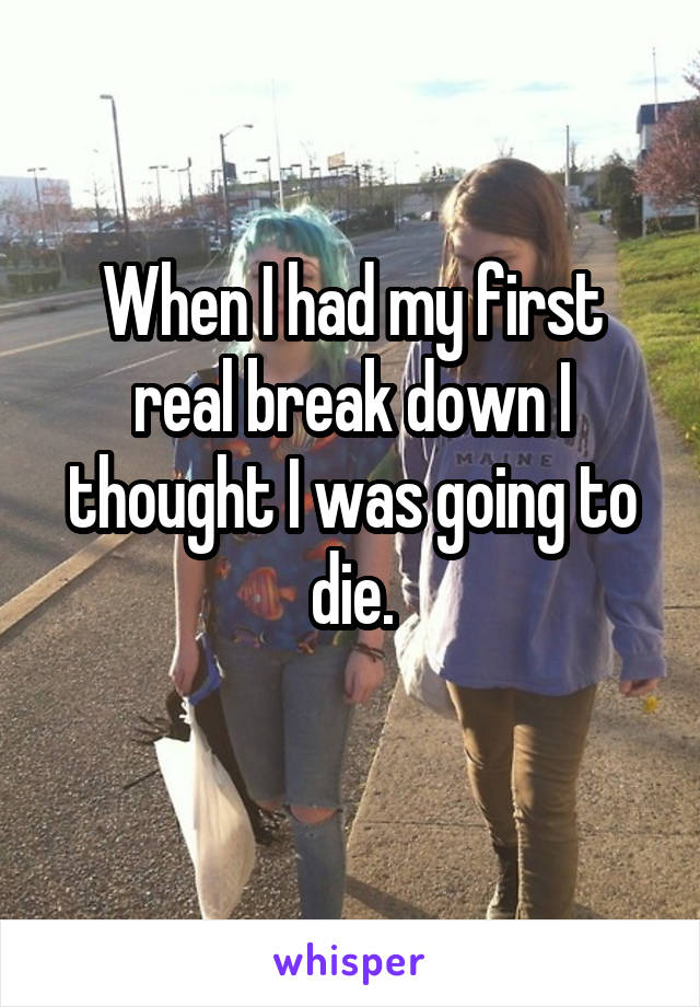 When I had my first real break down I thought I was going to die.