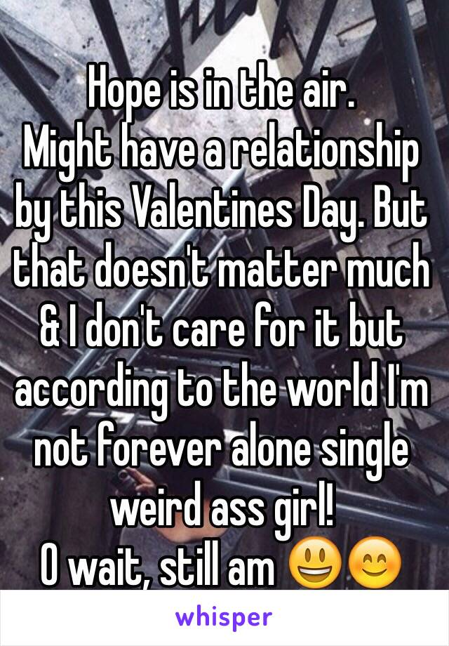 Hope is in the air. Might have a relationship by this Valentines Day. But that doesn't matter much & I don't care for it but according to the world I'm not forever alone single weird ass girl! O wait, still am 😃😊