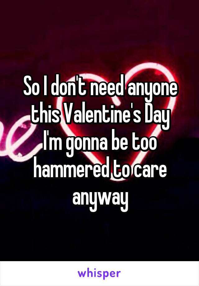 So I don't need anyone this Valentine's Day I'm gonna be too hammered to care anyway