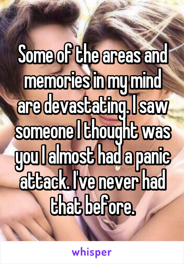 Some of the areas and memories in my mind are devastating. I saw someone I thought was you I almost had a panic attack. I've never had that before.