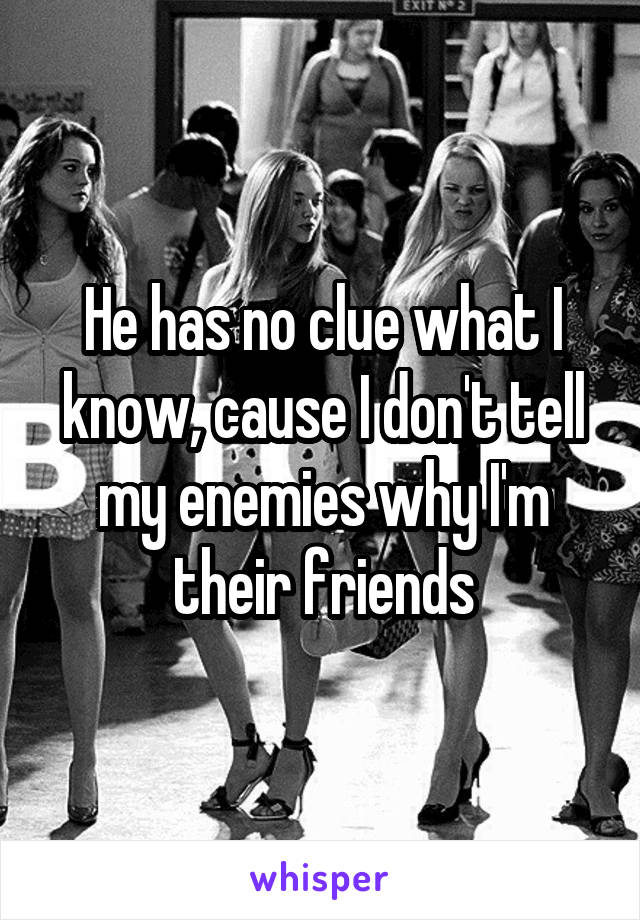 He has no clue what I know, cause I don't tell my enemies why I'm their friends