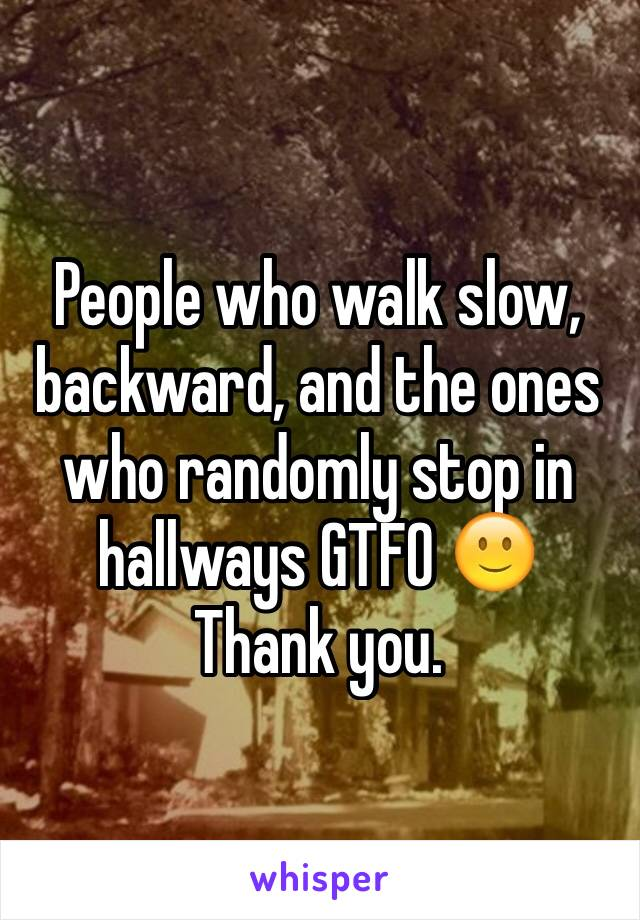 People who walk slow, backward, and the ones who randomly stop in hallways GTFO 🙂 Thank you.