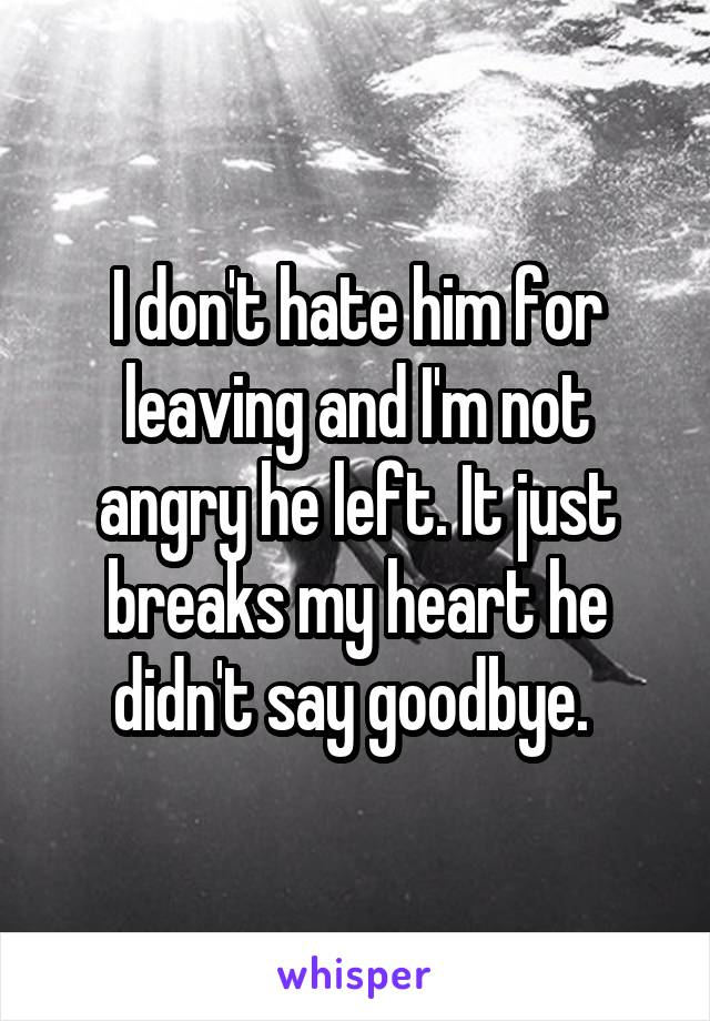 I don't hate him for leaving and I'm not angry he left. It just breaks my heart he didn't say goodbye.