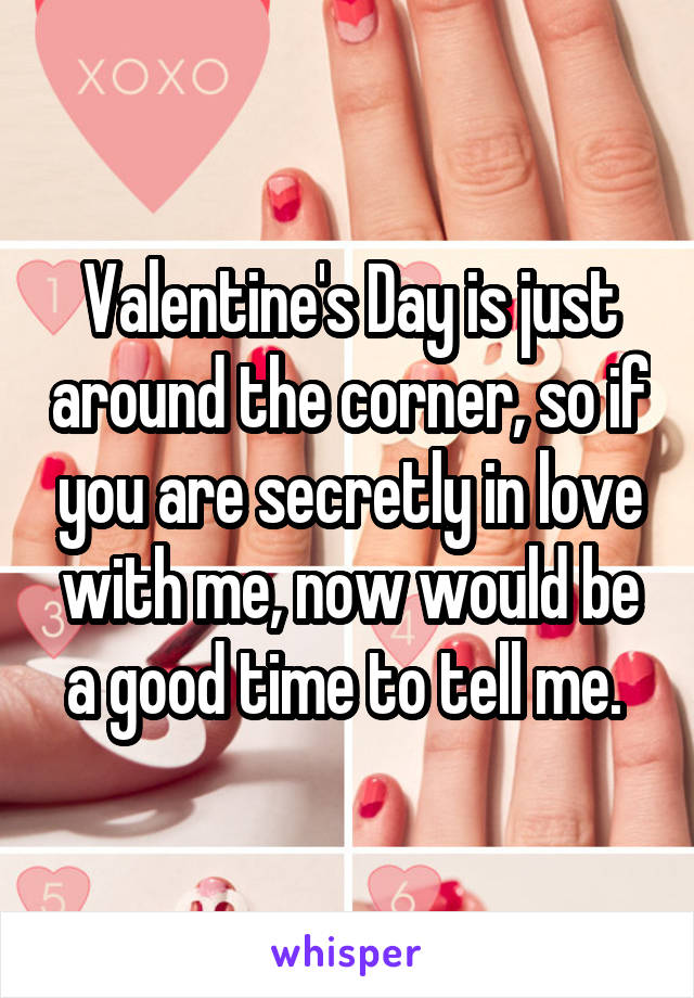 Valentine's Day is just around the corner, so if you are secretly in love with me, now would be a good time to tell me.