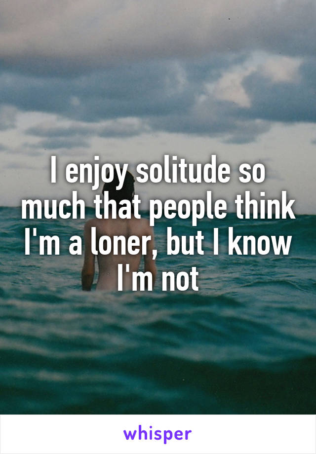 I enjoy solitude so much that people think I'm a loner, but I know I'm not