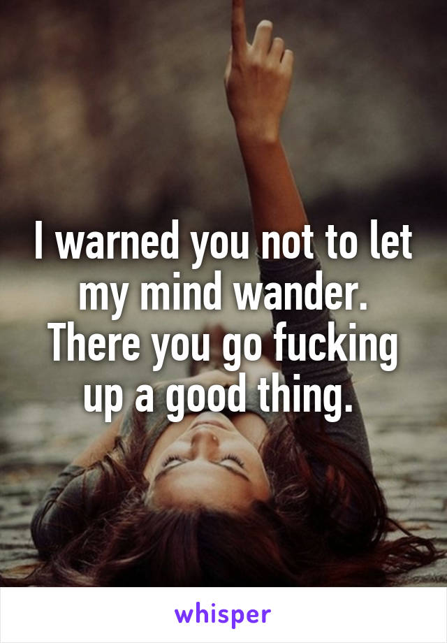 I warned you not to let my mind wander. There you go fucking up a good thing.