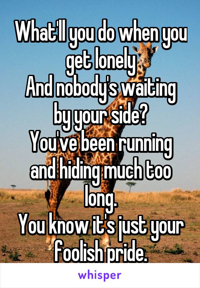 What'll you do when you get lonely And nobody's waiting by your side? You've been running and hiding much too long. You know it's just your foolish pride.