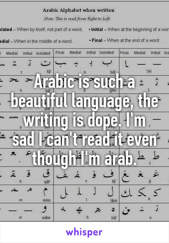 Arabic is such a beautiful language, the writing is dope. I'm sad I can't read it even though I'm arab.