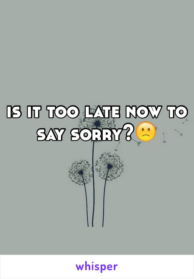 is it too late now to say sorry?🙁