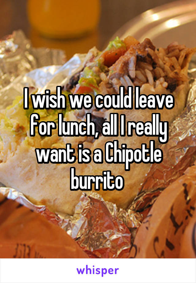 I wish we could leave for lunch, all I really want is a Chipotle burrito