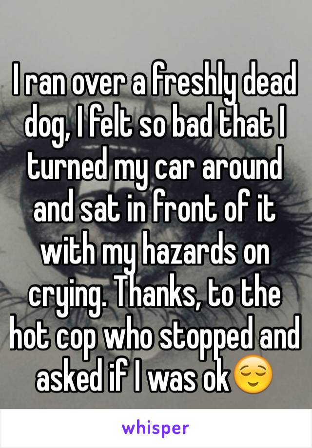 I ran over a freshly dead dog, I felt so bad that I turned my car around and sat in front of it with my hazards on crying. Thanks, to the hot cop who stopped and asked if I was ok😌