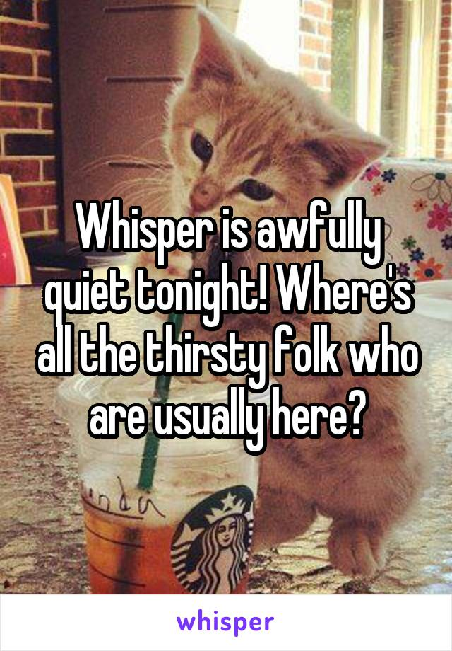 Whisper is awfully quiet tonight! Where's all the thirsty folk who are usually here?