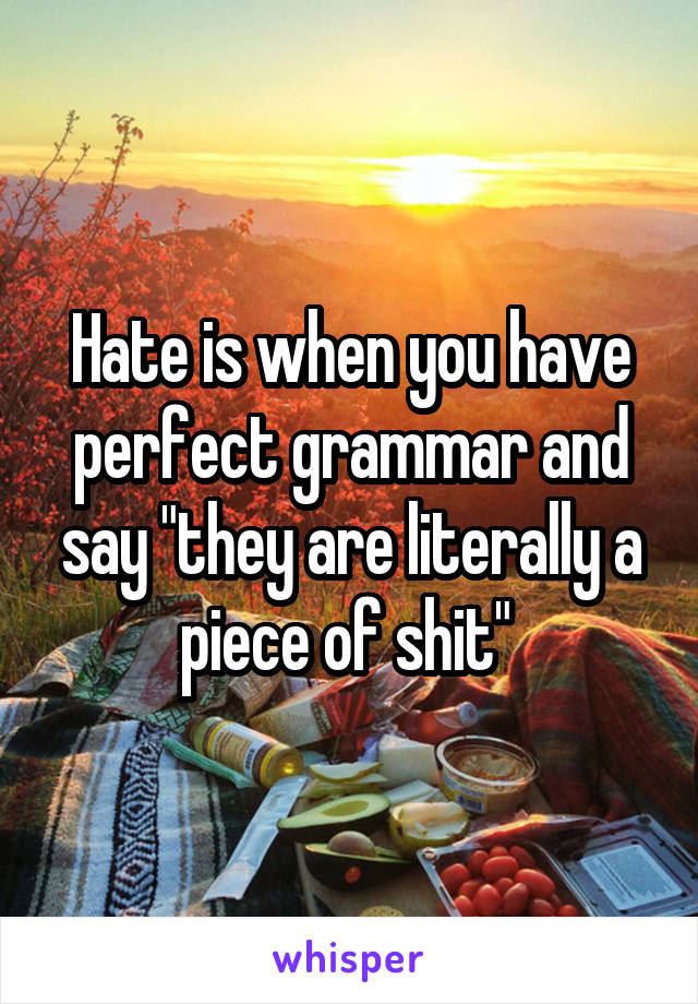 """Hate is when you have perfect grammar and say """"they are literally a piece of shit"""""""