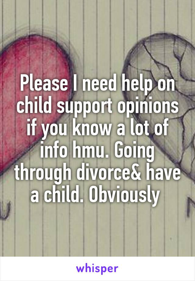 Please I need help on child support opinions if you know a lot of info hmu. Going through divorce& have a child. Obviously