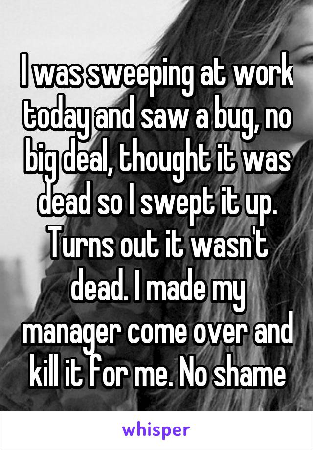 I was sweeping at work today and saw a bug, no big deal, thought it was dead so I swept it up. Turns out it wasn't dead. I made my manager come over and kill it for me. No shame
