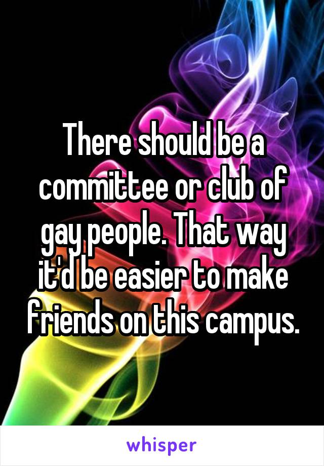 There should be a committee or club of gay people. That way it'd be easier to make friends on this campus.
