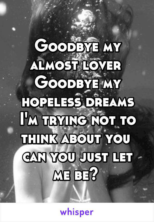 Goodbye my almost lover  Goodbye my hopeless dreams I'm trying not to think about you  can you just let me be?