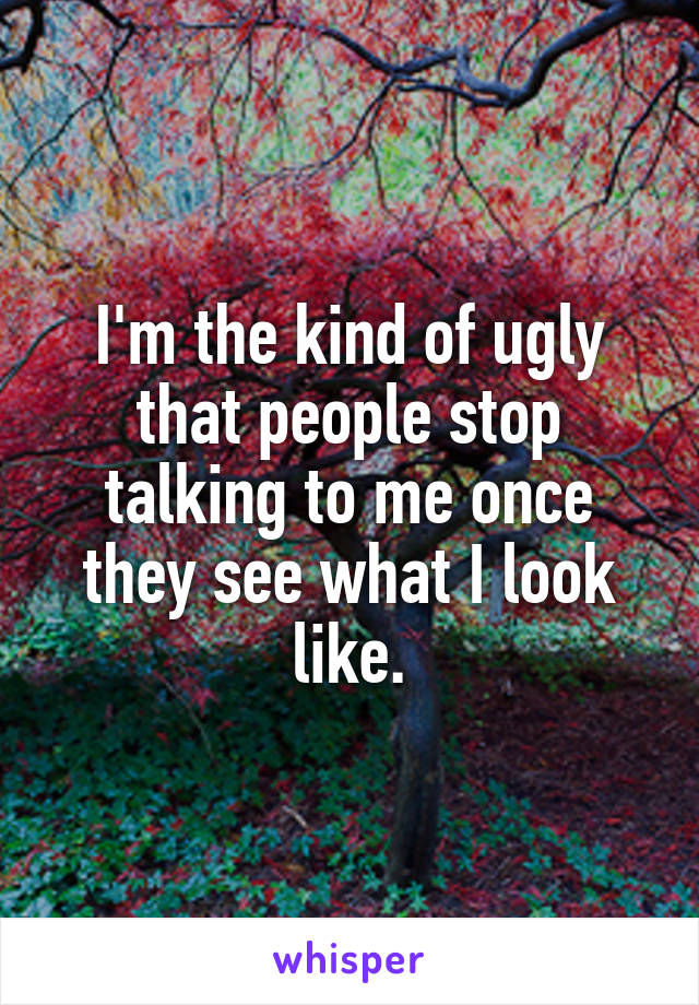 I'm the kind of ugly that people stop talking to me once they see what I look like.