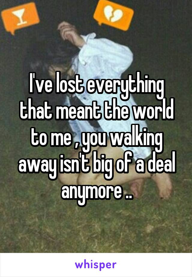 I've lost everything that meant the world to me , you walking away isn't big of a deal anymore ..