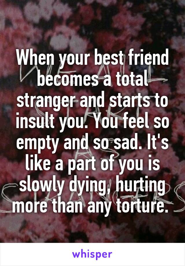 When your best friend becomes a total stranger and starts to insult you. You feel so empty and so sad. It's like a part of you is slowly dying, hurting more than any torture.