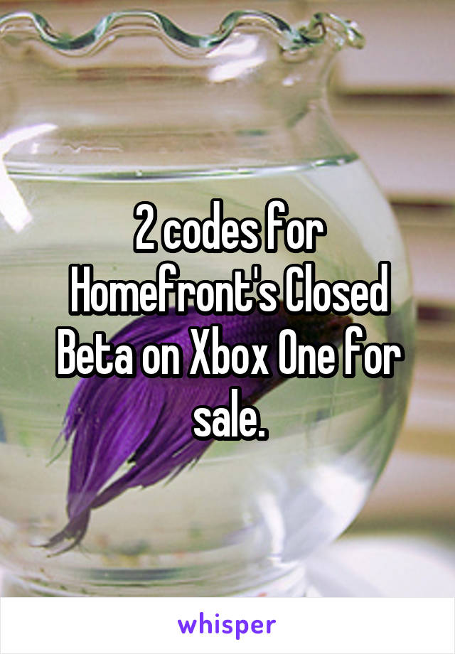 2 codes for Homefront's Closed Beta on Xbox One for sale.