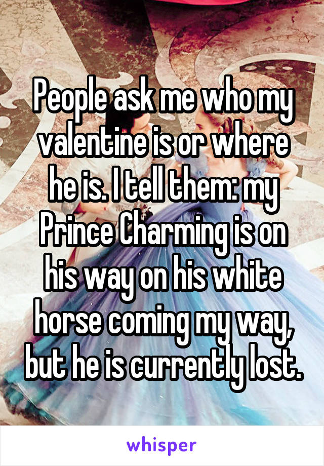 People ask me who my valentine is or where he is. I tell them: my Prince Charming is on his way on his white horse coming my way, but he is currently lost.