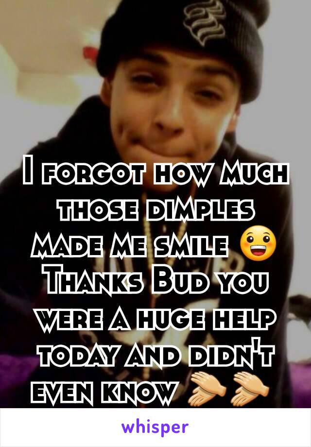 I forgot how much those dimples made me smile 😀 Thanks Bud you were a huge help today and didn't even know 👏👏