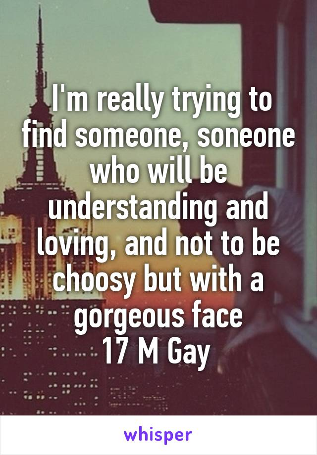 I'm really trying to find someone, soneone who will be understanding and loving, and not to be choosy but with a gorgeous face 17 M Gay