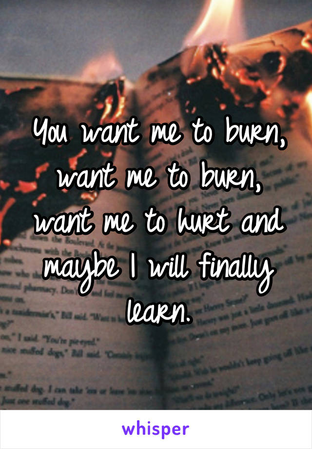 You want me to burn, want me to burn, want me to hurt and maybe I will finally learn.