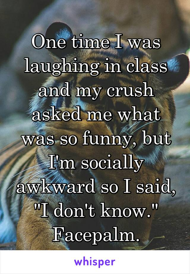 "One time I was laughing in class and my crush asked me what was so funny, but I'm socially awkward so I said, ""I don't know."" Facepalm."