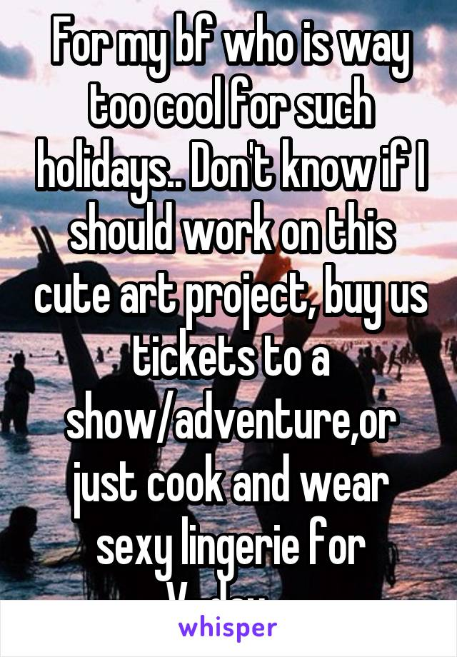 For my bf who is way too cool for such holidays.. Don't know if I should work on this cute art project, buy us tickets to a show/adventure,or just cook and wear sexy lingerie for V-day...